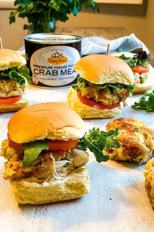 mini crab cake sandwiches and can of super lump crab cake