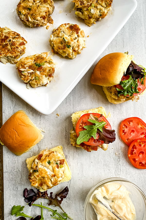 components for blt mini crab cake sandwiches