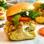 crab cake sandwiches with bacon, lettuce and tomato