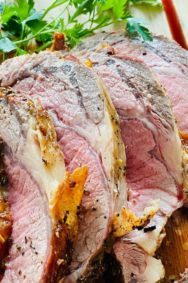 sliced slow roasted prime rib