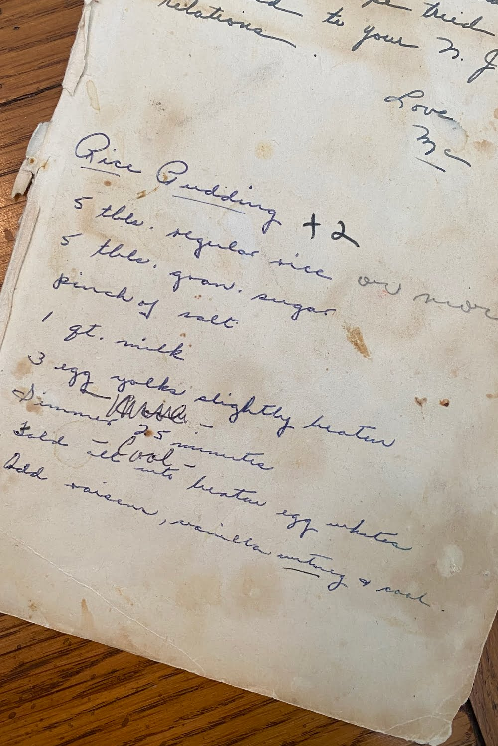 hand written recipe for rice pudding