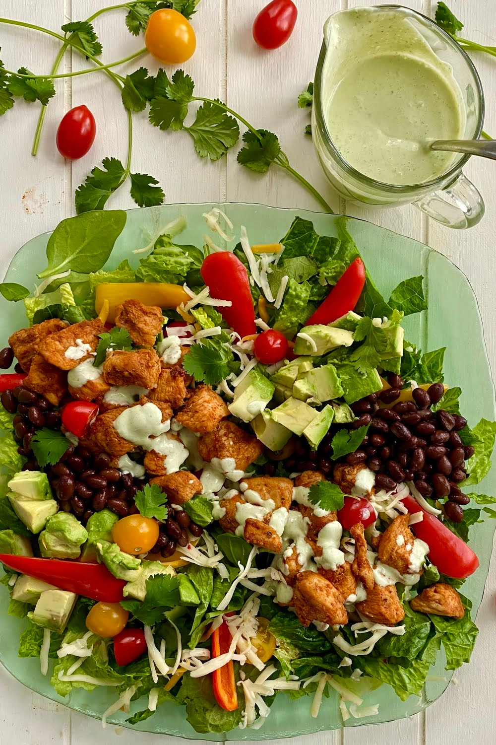an entrée Southwest Salad with chicken and lots of veggies